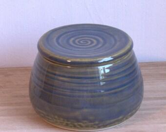 French Butter Crock. Slate Blue butter keeper. Ceramic butter dish. Pottery butter dish. Handmade unique butter holder.