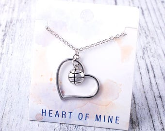Customizable! Heart of Mine: Basketball Silver Necklace - Great Basketball Gift!
