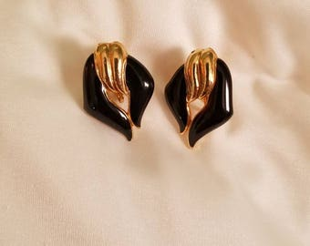 Vintage gold tone and black enamel clip on earrings