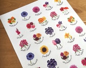 Flower stickers, circular, glossy, 35 on an A4 sheet.
