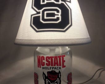Mason jar small lamp, night light - NC State Wolfpack influenced