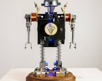 robot sculpture with functioning lights.