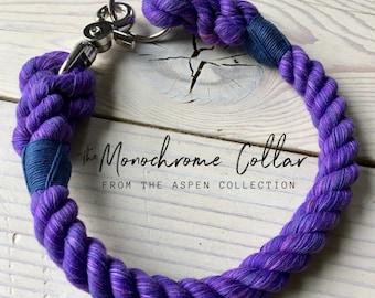 THE MONOCHROME Rope Dog Collar, cotton dog collar, snap hook, training collar, house collar, id tag collar