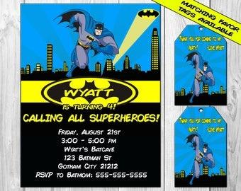 BATMAN Birthday Party Invitation, Printable Batman Invitation, Birthday, Justice League