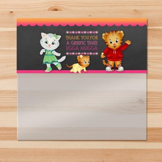 Daniel Tiger Birthday Candy Bag Topper - Pink Chalkboard - Girl Daniel Tiger Ziptop Bag Topper - Daniel Tiger Birthday Party - Daniel Tiger