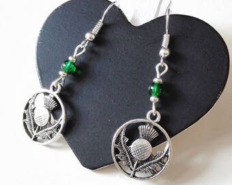 Earrings Outlander inspired Thistle Scottish thistle silver antique Scotland Ireland Claire Sassenach Highlanders gift idea
