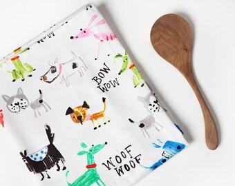 Dog Tea Towel, Dog, Tea Towel, Colorful, Dog Decor, Dog Lover, Dog Gift, Dog Kitchen, Large Tea Towel, Hostess Gift, Kitchen Gift, Dogs
