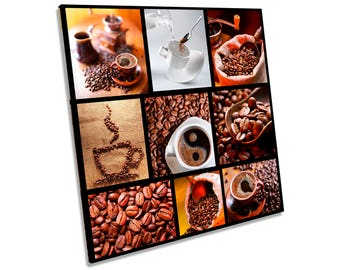 Coffee Kitchen Cafe Brown Cups CANVAS WALL ART Square Print