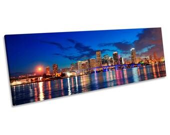 Miami City Skyline Night Blue CANVAS WALL ART Panoramic Framed Print