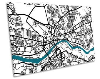 Newcastle Upon Tyne Map Minimalistic CANVAS WALL ART Picture Print