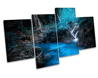 Blue Forest Waterfall River Print CANVAS WALL ART Multi Panel Picture