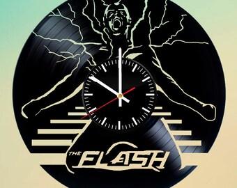 The Flash Superhero Vinyl Record Wall Clock. DC Comics Design. Contemporary Home Wall Art Decor. Unique Gift Idea For Boys and Men.