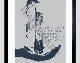 Take the First Step, Motivational Print, You Can Do It, Gift for Friend, Life Quotes F12X12153