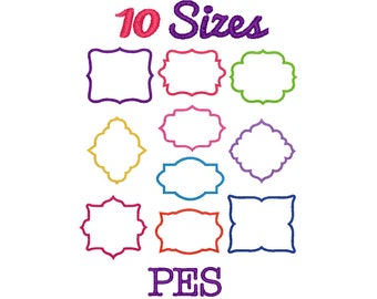 Frames Applique Embroidery Machine Embroidery PES Format File Pack Set 10 Sizes Digital Design Frame Embroidery  Instant Download