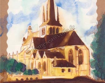 Painting Original landscape Church Riceys Champagne PG78 trees water reflections