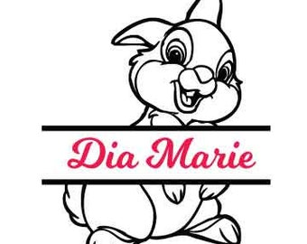 Thumper *Custom Name* Easter Bunny- Vinyl Decal - Multiple colors and sizes to choose from!!!
