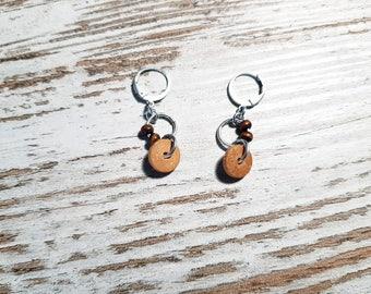 DQ Metal Earrings Wood