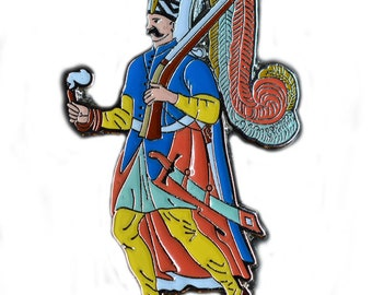 Ottoman Turk/Turkish Janissary Islamic Warrior Soldier with smoking pipe Ottoman Empire Pin/Brooch
