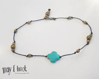 Macrame anklets turquoise and beads