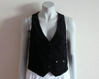 Women's Vest Black Vest Black Women Vest Fine Corduroy Vest Steampunk Formal Fitted Waistcoat Edwardian Baroque Victorian Medium Size
