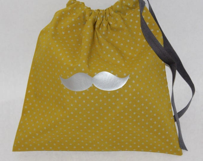 Mustache lingerie bag or purse slippers made of batiste olive / silvery stars with grey DrawString.