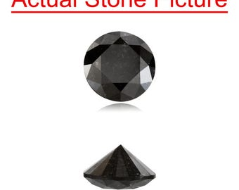 0.81 Cts of 5.92-5.95x3.50 mm GIA Certified AA Round Modified Brilliant ( 1 pc ) Loose Un-Treated Fancy Black Diamond