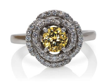 Yellow Sapphire Engagement Ring with Diamonds and 14kt White Gold | 1.45ctw | Floral Engagement Ring | 4987