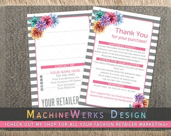 Independent Fashion Retailer Thank You Cards • Care Cards • Home Office Approved Fonts and Colors • Marketing Materials • MachineWerks