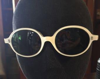 Vintage 1960s Round White Hard Plastic Frames Glasses Eyeglasses Funky Retro - Stamped USA