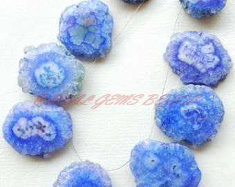 38% OFF 9 Pieces Strand, Beautiful Blue Stalactite Slices, Blue Stalactite One Side Smooth Slice Briolettes, 21-36 MM, Loose Gemstone Beads
