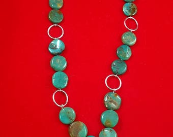 Mexican Turquoise Necklace with Sterling Silver Flower and Rings