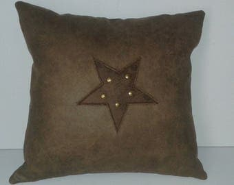 for an interior leather western style star cushion