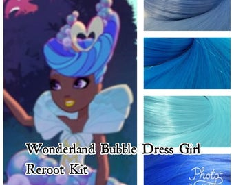 Ever After High Way Too Wonderland Bubble Dress Blue Hair Girl Doll Hair Rerooting Pack for Customizing your own OOAK Doll INTL SHIP