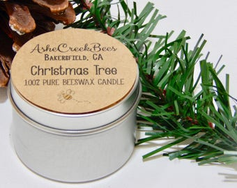 Christmas Tree Scented 100% Pure Beeswax Candle