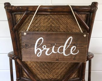 Bride and Groom Signs // Bride and Groom Chair Signs // Wedding Chair Signs // Rustic Wedding Decor // Bride and Groom Table Signs