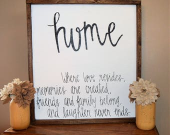 Custom Wooden Sign-Handmade-Farmhouse-Rustic-Distressed-Home Decor-Home...where love resides