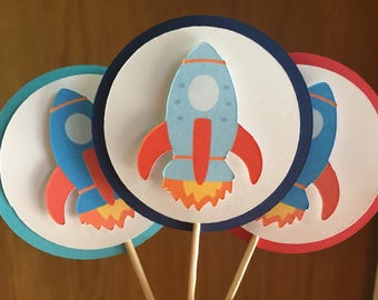 Rocket Ship Cupcake Toppers - Blast Off - Transportation - Space Ship