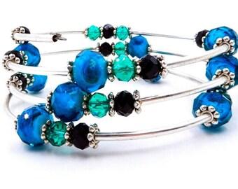 Blue crystal bracelet, blue and silver wrap bracelet, crystal wrap bracelet, memory wire wrap bracelet, memory wire bracelet