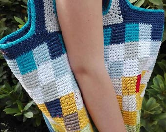 Crochet bag stable pixel crochet views over the wheat field in the sky