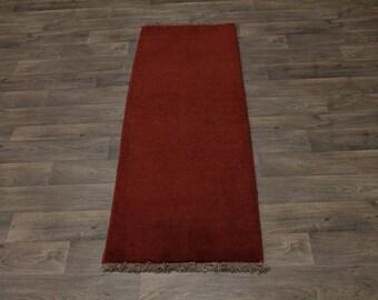 Runner Plain Design Handmade Gabbeh Modern Persian Rug Oriental Area Carpet 2X6