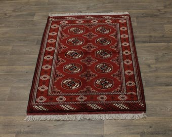 Excellent Hand Knotted Red Turkoman Persian Area Rug Oriental Carpet Sale 3'5X5