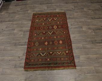 4X7 Fine Unique Design Hand Woven Sumak Persian Area Rug Oriental Carpet 3ʹ8X7