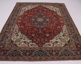 Great Shape Geometric Handmade Tabriz Persian Rug Oriental Area Carpet 10X13