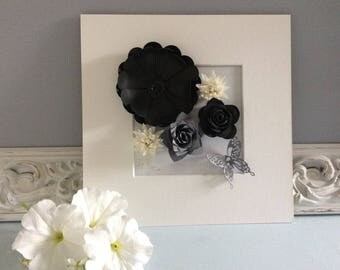 Black white and grey flower picture