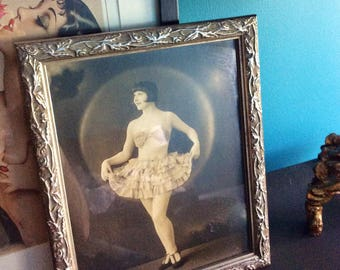 1920s Vintage Flapper Girl Violetta Spotlight Photo with Silver Frame - Theatrical Studio Chicago