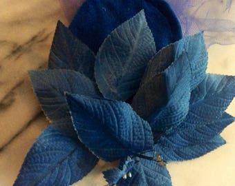 Vintage Burlesque Purple / Blue Flower Velvet Fascinator with Veil