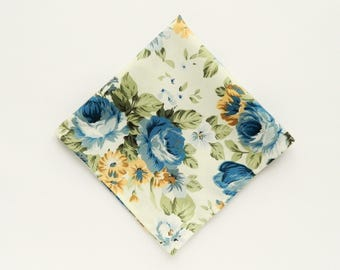 Blue mustard yellow floral pocket square blue floral prints wedding gifts for men groomsmen uk