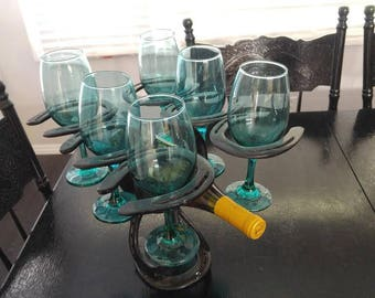 Wine Bottle and 6 Glass Holder made out of Horseshoes