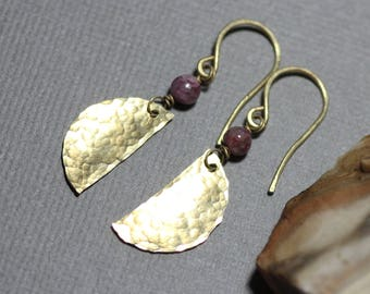 Brass and Pink Tourmaline Earrings Hammered Brass Moons Rustic Jewelry