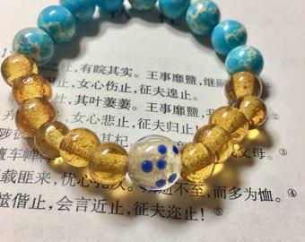 Yellow glaze and imperial jasper bracelet
